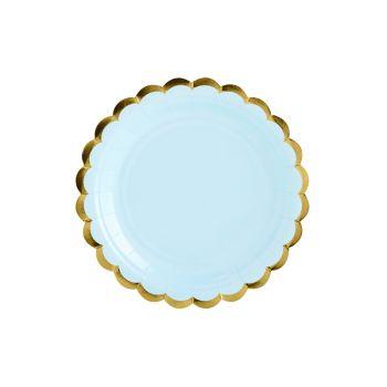 6 kleine Teller sweet pastell blau