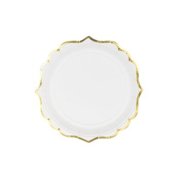 6 kleine Teller festlich weiß gepolstert Gold
