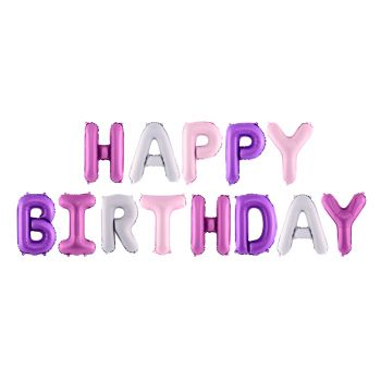 Alu-Ballon-Girlande Happy Birthday rosa violett und weiß
