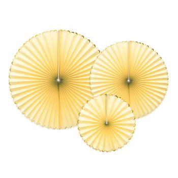 3 Fächer gelb pastellfarben gebogen gold