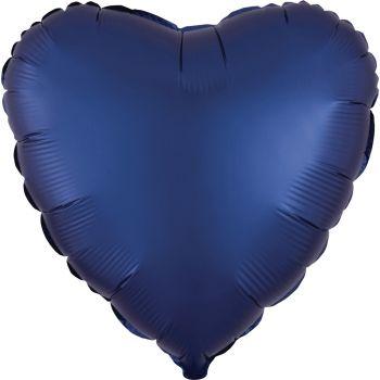 Helium-Ballon Satin Luxus Blau Marine Herz