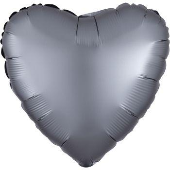Helium-Ballon Satin Luxus Graphit Herz