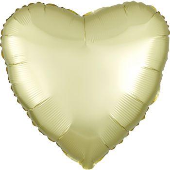 Helium Luftballon Satin Luxus Gelb Pastell Herz