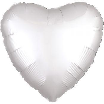 Ballon Helium Satin Luxus Weiß Herz