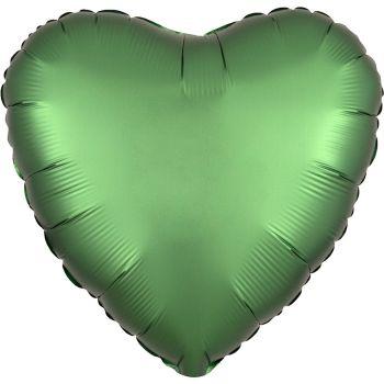 Helium Luftballon Satin Luxus Grün Herz