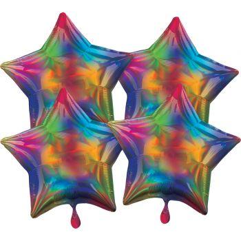 4 Helium Luftballons Stern mehrfarbig irisiert