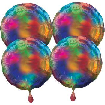 4 Helium Luftballons rund mehrfarbig irisiert