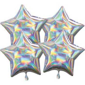 4 Helium-Luftballons stern silber Irisiert