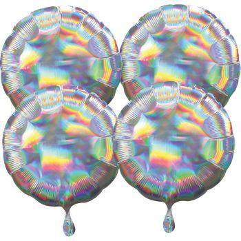 4 Helium Luftballons rund silber irisiert