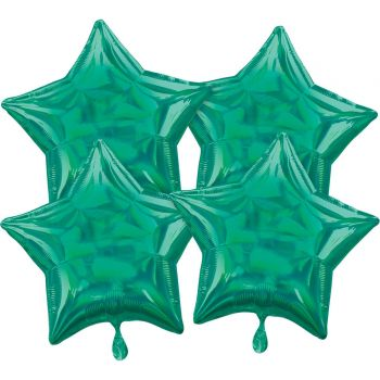 4 Helium-Luftballons stern irisiert