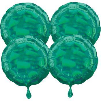 4 helium-Luftballons rund grün irisiert