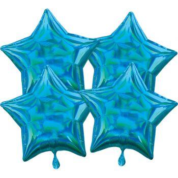 4 Helium Luftballons blauer Stern irisiert