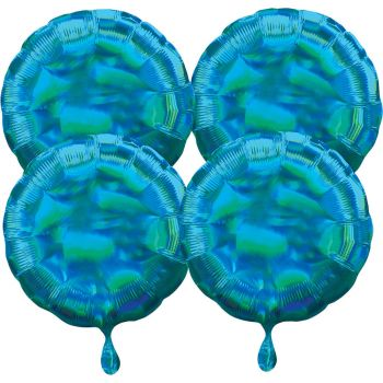 4 Helium-Luftballons rund blau irisiert