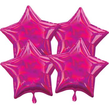4 Helium-Luftballons stern fuchsia irisiert