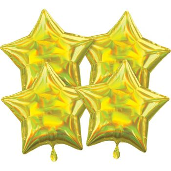 4 Helium-Luftballons stern irisiert gelb