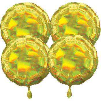 4 Helium-Luftballons rund galb irisiert