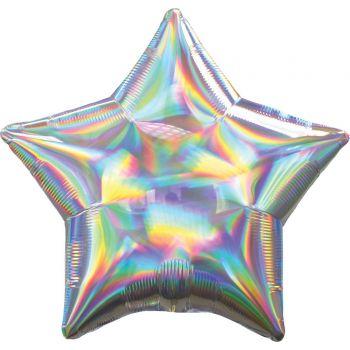 Helium-Ballon silbernen Stern irisiert