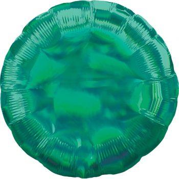 Helium-Ballon rund grün irisiert