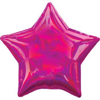 Helium Ballon Stern irisiert fuchsia