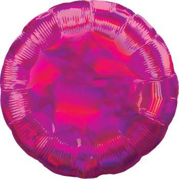 Helium-Ballon rund fuchsia irisiert