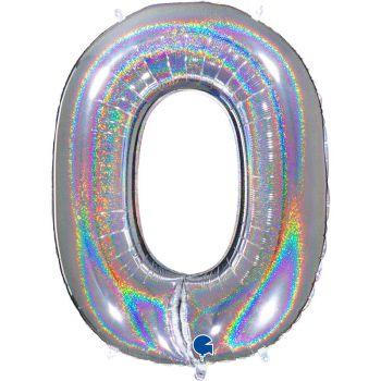 Riesiger Ballon helium ziffer 0 holographisch silber