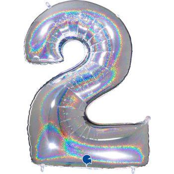 Riesiger Ballon helium ziffer 2 holographische silber