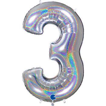 Riesiger Ballon helium ziffer 3 holographisch silber