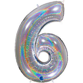 Riesiger Ballon helium ziffer 6 holograph silber