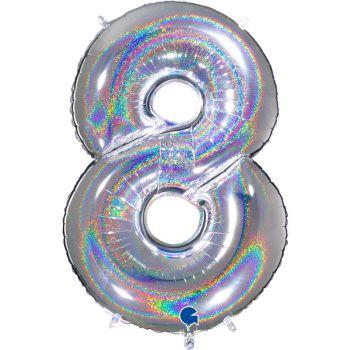 Riesiger Ballon helium ziffer 8 holographisch silber
