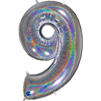 Riesiger Ballon helium ziffer 9 holographisch silber
