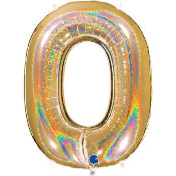 Riesiger Ballon helium ziffer 0 holographisch gold