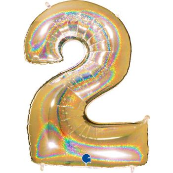 Riesiger Ballon helium ziffer 2 holographe gold