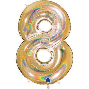 Riesiger Ballon helium ziffer 8 holographisch gold