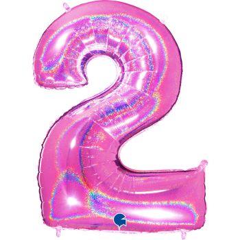 Riesiger Ballon helium ziffer 2 holographisch fuchsia