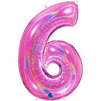Riesiger Ballon helium ziffer 6 holographisch fuchsia