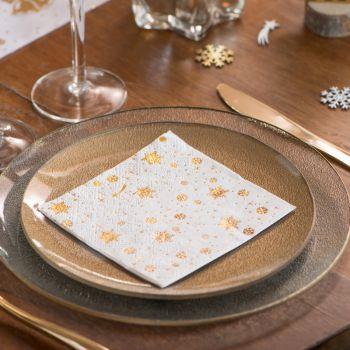 20 kleine Handtücher Weihnachtsdorf Gold