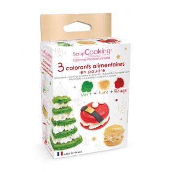 Kit 3 Lebensmittel-Farbstoffe als Pulver Weihnachten Scrapcooking