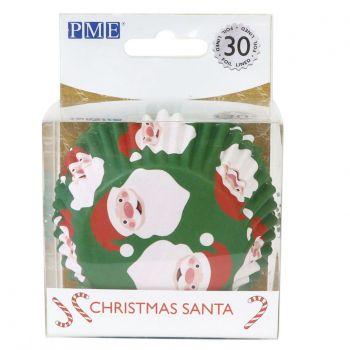 30 Cupcakes backförmchen alu Weihnachtsmann