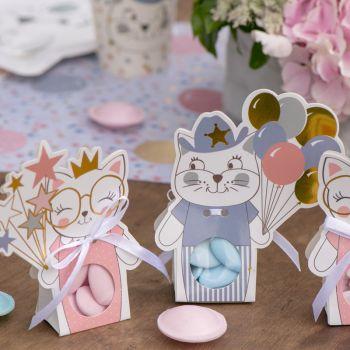 6 Faltschachteln Kitty Blau