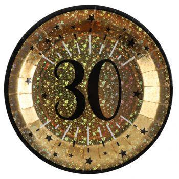 Geburtstags-Teller gold glitzerte 30 Jahre