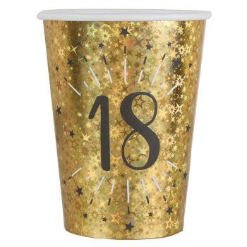 10 Glitzer-Gold-Becher 18 Jahre