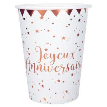 10 Gläser Happy Birthday Gold