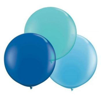 3 Runde Ballons blau Ø60cm