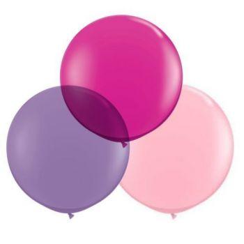 3 Runde Ballons rosa Ø60cm