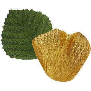 100 Blütenblätter goldmetallisiert mit Stoffblatt
