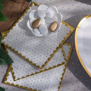 20 weiße, gepunktete goldene Handtücher mit Vergoldung