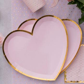 10 Teller rosa Herz BB mit Vergoldung