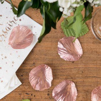 100 Metallic Blütenblätter mit blattrosa gold stoff