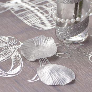 100 Silber metallic Blütenblätter mit Stofffolie