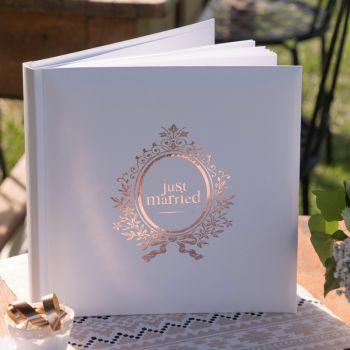 Gästebuch Dekor Just Married Rose Gold